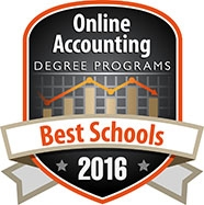 Online accounting degree program badge