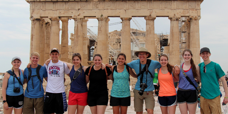 Students in Greece on summer study abroad trip