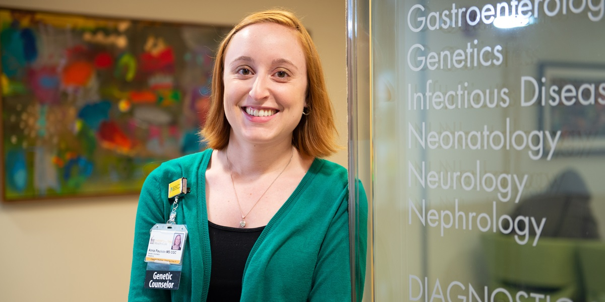 Anna Paulson works with families as a genetic counselor at the University of Iowa Hospitals.
