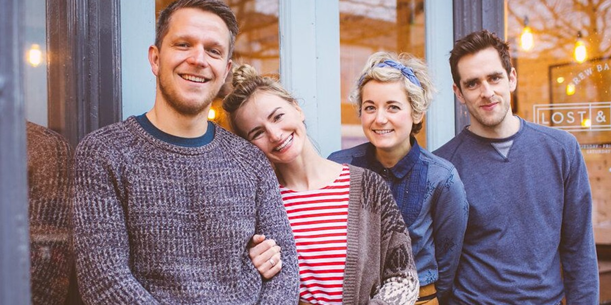 Kathleen Henderson (second from right) and her husband, Dan, (far right) teamedwith another couple to start a coffee shop that's been named among the best in the United Kingdom.