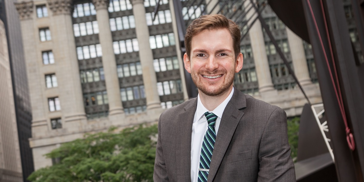 Theatre and writing/rhetoric major Matt Hulstein now advocates for people who can't afford private counsel as an attorney with Chicago Volunteer Legal Services.